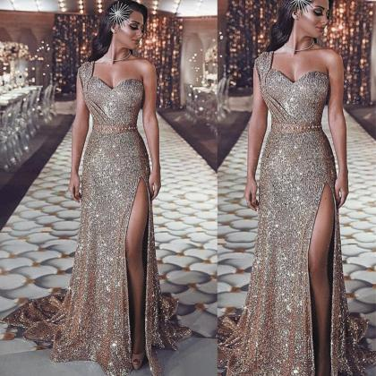 One Shoulder Rose Gold Evening Dres..