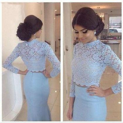 Long Sleeve Lace Blue Prom Dresses,..