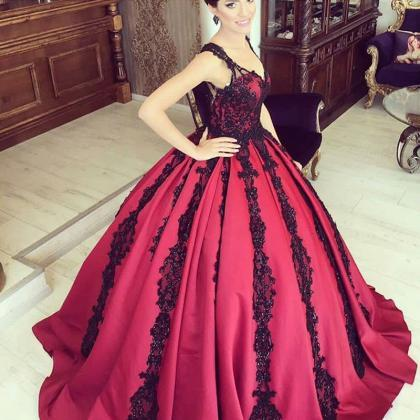 Wine Red Prom Dress, Beaded Prom Dr..