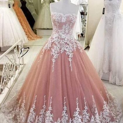 Tulle Prom Dress, Dusty Pink Prom D..