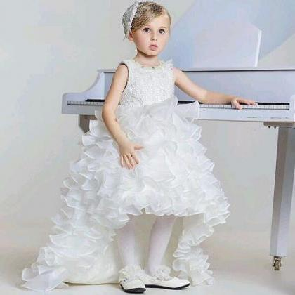 High Low Kids Prom Dress, White Flo..