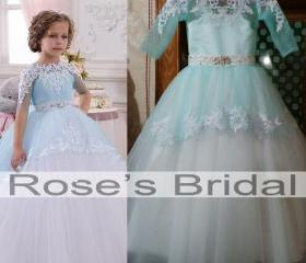 Ice Blue Lace Appliq..