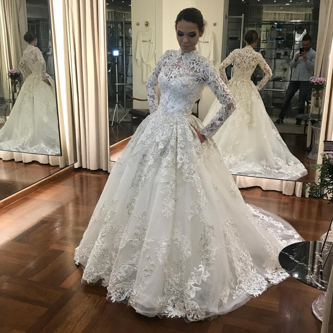 High Neck Wedding Dress, Long Sleeve Wedding Dress, Muslim Wedding Dress, Lace Applique Wedding Dress, Ivory Wedding Dress, A Line Wedding Dress, Cheap Wedding Dress, Gothic Wedding Dress, Vintage Wedding Dress, Modest Bridal Dress