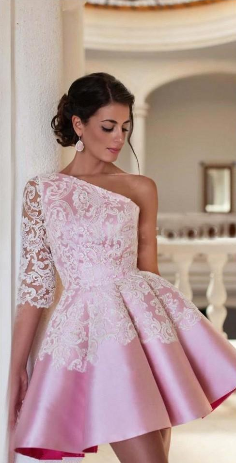 One Shoulder Pink Prom Dresses Short Lace Applique Cheap Homecoming Dresses Cocktail Dresses 2019