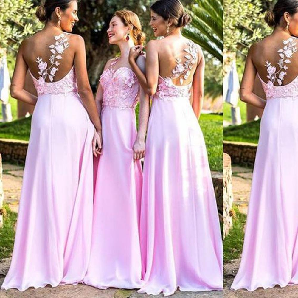 Pink Bridesmaid Dresses 2019 One Shoulder Lace Applique Long Cheap Wedding Guest Dress