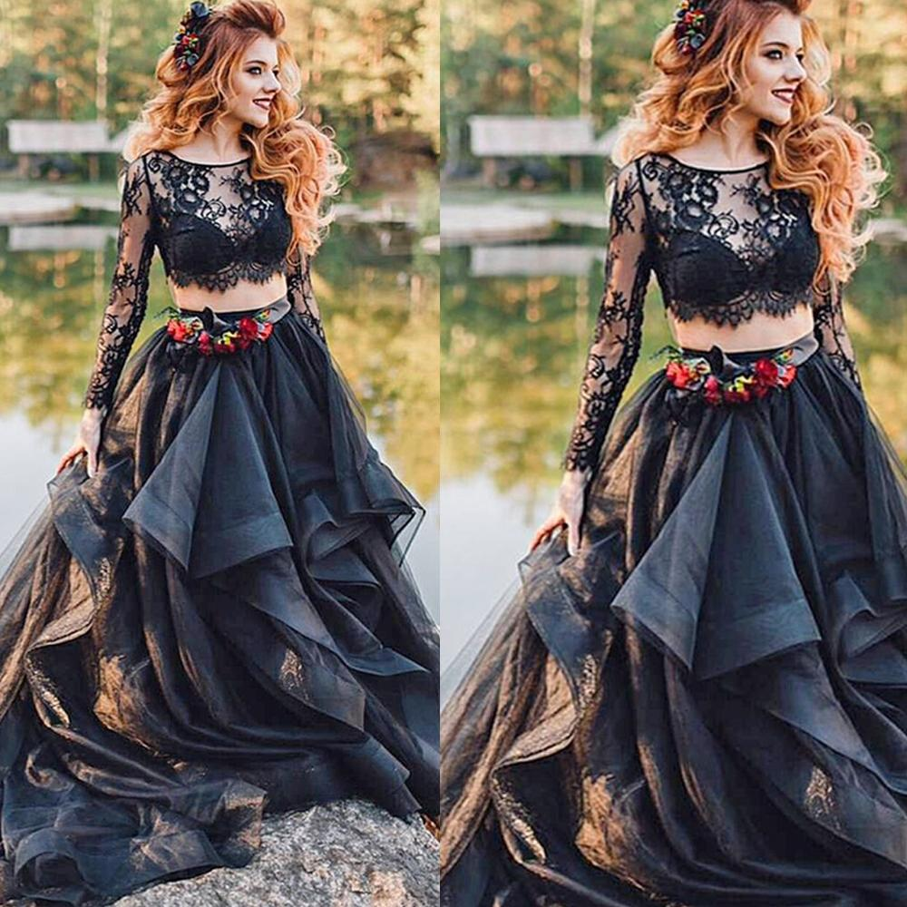 Two Piece Prom Dresses 2019 Long Sleeve Lace Tiered Elegant Black Prom Gown Vestido De Festa