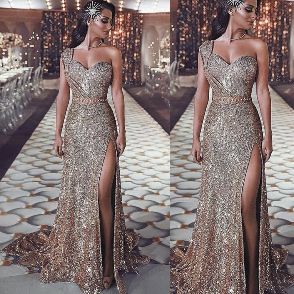 One Shoulder Rose Gold Evening Dresses 2019 Mermaid Sparkle Beaded Long Evening Gown Formal Dresses