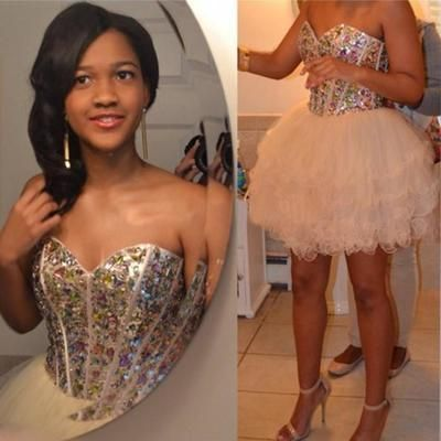 Homecoming Dress Short, Puffy Homecoming Dress, Sexy Homecoming Dress, Rhinestones Homecoming Dress, Cocktail Party Dresses, Cheap Homecoming Dress, Sweetheart Homecoming Dress, Sparkly Homecoming Dress, 2017 Homecoming Dresses