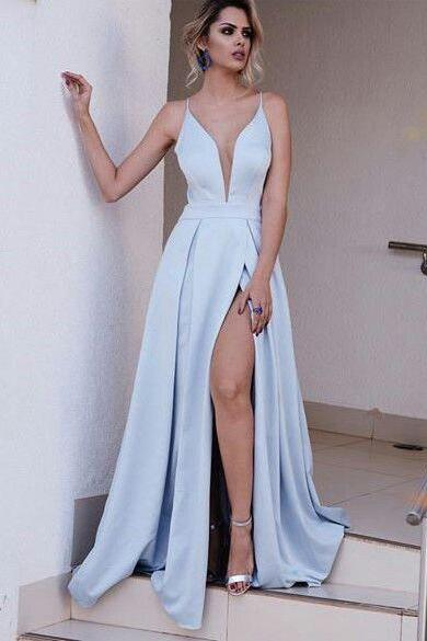 Sexy Evening Dress, A Line Formal Dresses, Elegant Evening Dress, Satin Prom Dress, Cheap Prom Dress, Prom Dresses 2017, Long Prom Dress, Floor Length Prom Dress, Women Formal Dresses, Simple Prom Dress, Light Blue Prom Gown