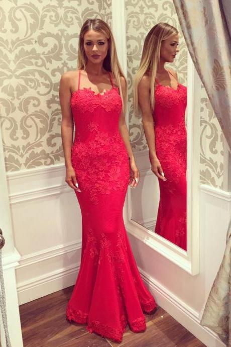 Red Evening Dress, Lace Applique Evening Dress, Spaghetti Strap Evening Dress, Mermaid Evening Dress, Elegant Evening Dress, Long Evening Dress, Sexy Formal Dresses, 2017 New Arrival Formal Dresses, Ever Pretty Evening Dress