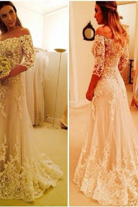 Lace Wedding Dress, Elegant Wedding Dress, Long Sleeve Wedding Dress, A Line Wedding Dress, Cheap Bridal Dresses, Champagne Wedding Dress, Wedding Dresses 2017, Off the Shoulder Wedding Dress, Bridal Dresses For Women