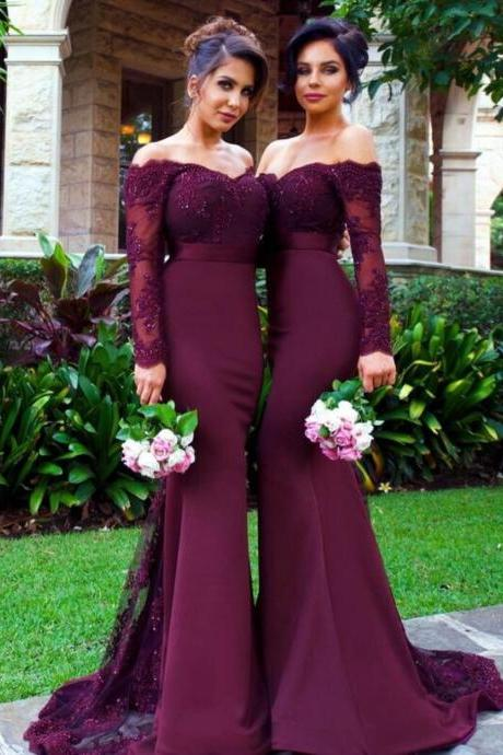 Burgundy Bridesmaid Dress, Long Sleeve Bridesmaid Dress, Mermaid Bridesmaid Dress, Beaded Bridesmaid Dress, Off Shoulder Bridesmaid Dress, Wedding Party Dresses, Elegant Bridesmaid Dress, Long Bridesmaid Dress, Women Formal Dress