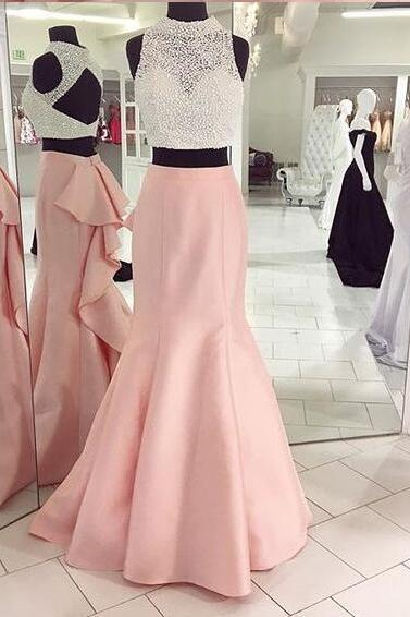 2018 Real Photo Evening Dress, Pink Evening Dress, Beaded Evening Dress, 2 Piece Prom Dresses, Satin Evening Dress, Mermaid Evening Dress, Elegant Evening Dress, Formal Dresses 2018, Luxury Evening Dress