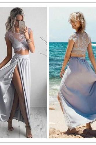 Silver Prom Dress, Lace Prom Dress, 2 Piece Prom Dresses, Sexy Formal Dress, Cheap Prom Dress with Side Slit, Short Sleeve Prom Dress, Long Prom Dress, Prom Dresses 2018, Women Formal Dresses