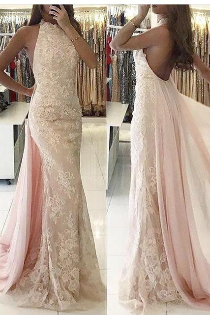Light Pink Evening Dress, Lace Evening Dress, Detachable Skirt Evening Dress, Mermaid Evening Dress, Backless Evening Dress, Sexy Evening Dress, Evening Dress 2018, Cheap Evening Dress, Women Formal Dress, Vestido De Festa