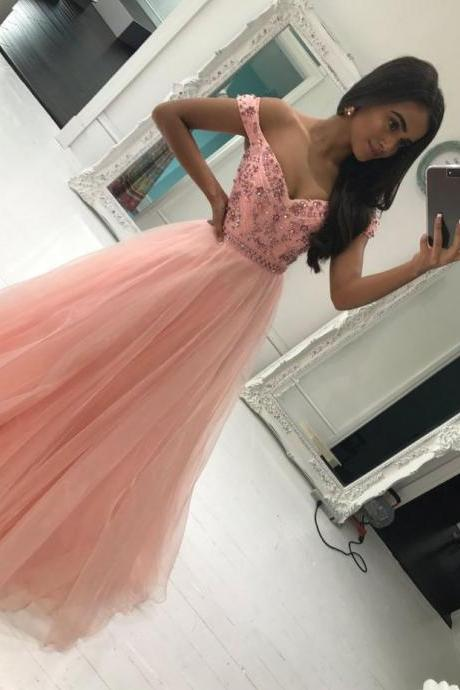 Off the Shoulder Prom Dress, Tulle Prom Dress, Lace Applique Prom Dress, Beaded Prom Dress, A Line Prom Dress, Pink Prom Dress, Vestido De Festa, Prom Dresses 2018, Cheap Prom Dress