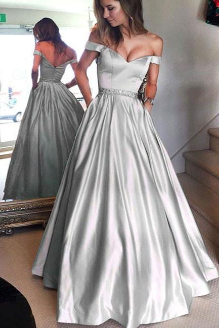 Silver Prom Dress, A Line Prom Dress. Prom Dresses 2018, Vestido De Festa, Satin Dress, Beaded Prom Dress, Off the Shoulder Prom Dress, Elegant Prom Dress, Short Sleeve Prom Dress, Floor Length Prom Dress, Prom Dresses 2018
