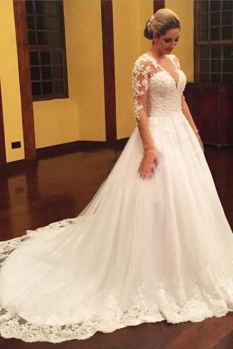 Long Sleeve Wedding Dress, Lace Applique Wedding Dress, Ivory Wedding Dress, Chapel Train Wedding Dress, Elegant Wedding Dress, Wedding Dress 2018, Cheap Bridal Dress, Luxury Wedding Dress, Saudi Arabic Wedding Dress, Vestido De Novia