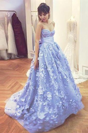 Floral Prom Dress, Blue Prom Dress, Prom Dresses 2018, Lace Prom Dress, Sweetheart Prom Dress, Cheap Graduation Dress, Prom Dresses for Women, Elegant Prom Dress, Long Prom Dress, Sexy Prom Dress
