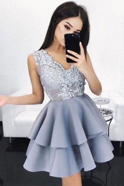 Gray Homecoming Dress, Short Homecoming Dress, Cheap Homecoming Dress, Cocktail Dresses, Lace Applique Homecoming Dress, A Line Homecoming Dress, Homecoming Dresses 2018, Cheap Graduation Dresses