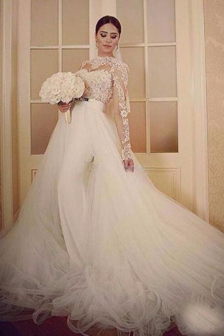 2018 Wedding Dress, Detachable Skirt Wedding Dress, Long Sleeve Wedding Dress, Elegant Wedding Dress, Mermaid Wedding Dress, Cheap Bridal Dresses, Wedding Dresses 2018, White Wedding Dress, Vestido De Novia