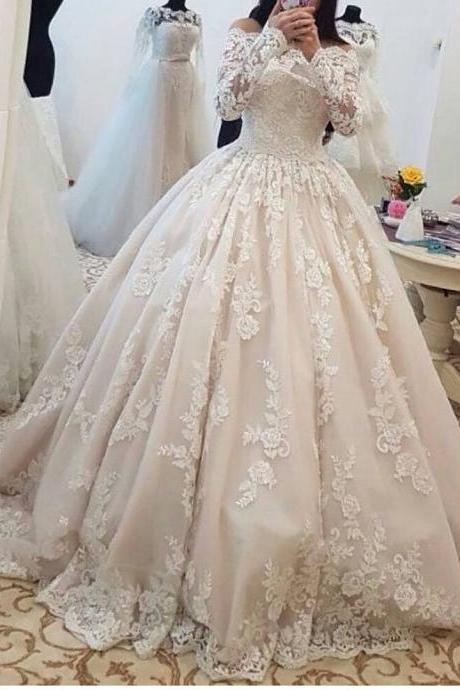 Gorgeous Wedding Dress, Champagne Wedding Dress, Luxury Wedding Dress, Vestido De Noiva, Lace Applique Wedding Dress, Arabic Wedding Dress, Wedding Dresses 2018, Elegant Wedding Dress