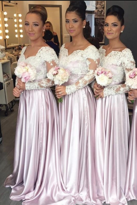 Long Sleeve Bridesmaid Dress, Satin Bridesmaid Dress, Bridesmaid Dresses Long, A Line Bridesmaid Dress, Cheap Bridesmaid Dress, Wedding Party Dress, 2018 Bridesmaid Dresses