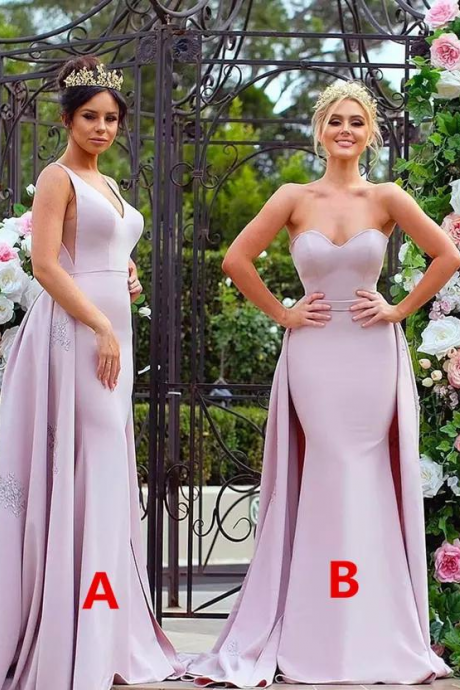 Dubai Bridesmaid Dress, Arabic Bridesmaid Dress, Detachable Bridesmaid Dress, Mismatched Bridesmaid Dress, Pale Pink Bridesmaid Dress, Bridesmaid Dresses 2018, Wedding Party Dress