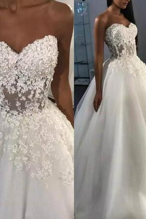 Wedding Dresses 2018, Vestido De Novia, Elegant Wedding Dress, Handmade Flowers Wedding Dress, Tulle Wedding Dress, Cheap Wedding Dress, Ivory Wedding Dress, Lace Applique Wedding Dress