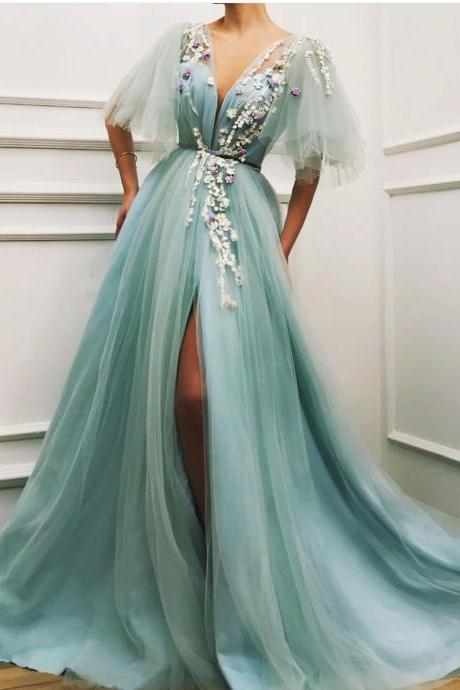 Ice Blue Prom Dress, Prom Dresses 2019, V Neck Prom Dress, Lace Applique Prom Dress, Short Sleeve Prom Dress, Elegant Prom Dress, Prom Dresses Long, A Line Prom Dress