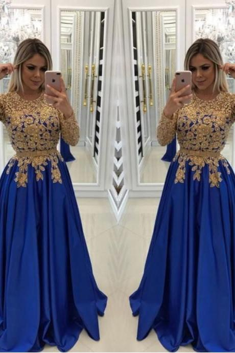Royal Blue Prom Dress, Beaded Prom Dress, Lace Applique Prom Dress, Long Sleeve Prom Dress, Prom Gown 2019, Satin Prom Dress, Vestido De Festa, Elegant Prom Dress