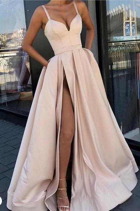 Pink Prom Dresses 2019 Satin A Line Cheap Sexy Formal Dresses with Side Slit Robe De Soiree