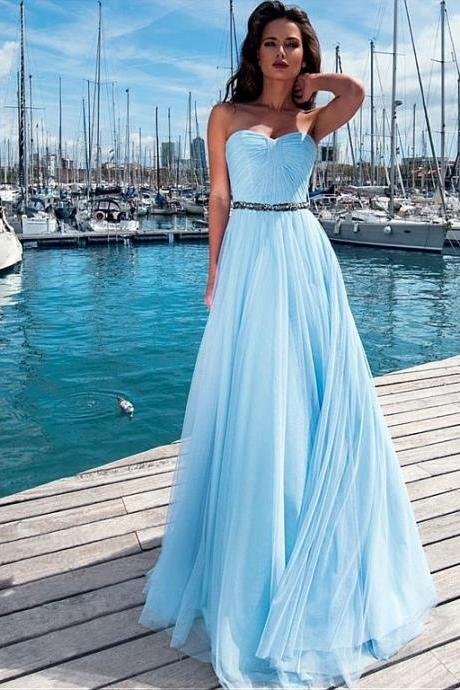 Sweetheart Neckline Prom Dresses 2019 Beaded Chiffon Sky Blue A Line Prom Gown Long