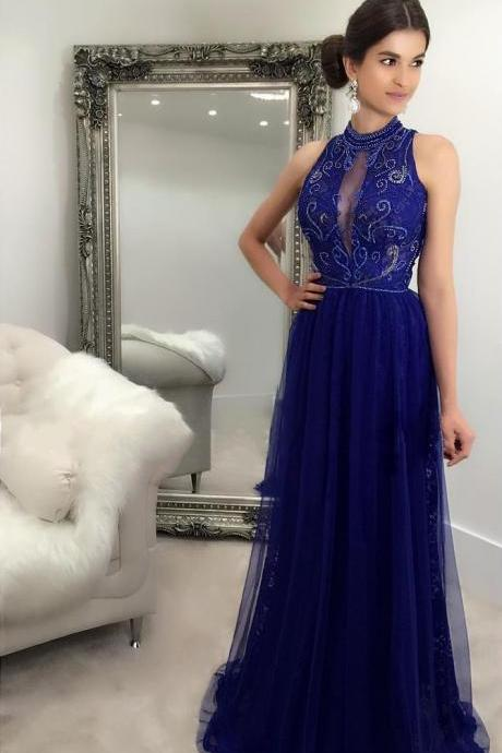 high neck prom dresses 2019 royal blue beaded tulle elegant prom gown vestido de longo de festa