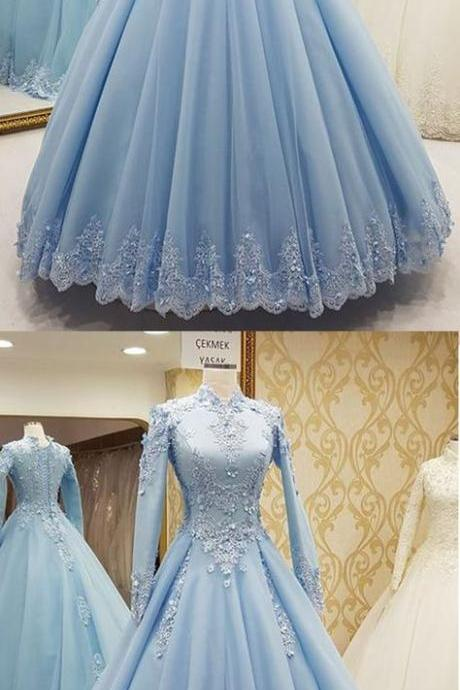muslim blue prom dresses 2019 long sleeve high neck lace applique arabic prom gown robe de soiree