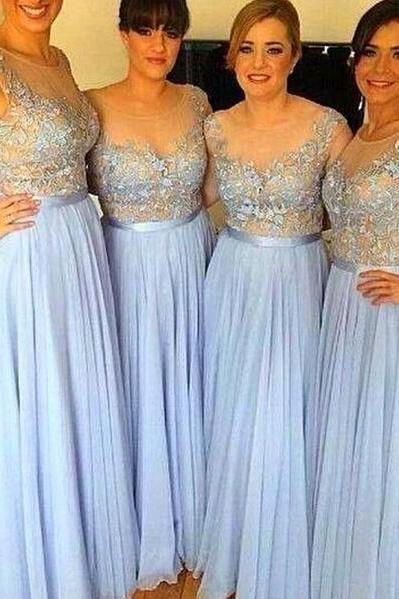 Cap Sleeve Blue Long Bridesmaid Dress, A Line Cheap Bridesmaid Dress, Floor Length Chiffon Lace Bridesmaid Dress, Senior Formal Dresses, 2016 Elegant Bridesmaid Dress, Wedding Guest Dresses