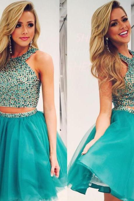 Rhinestones Party Dress, Short Homecoming Dress, Teal Green Homecoming Dress, Sexy Homecoming Dress, 2016 Homecoming Dress, Cheap Homecoming Dress, Party Dresses 2016