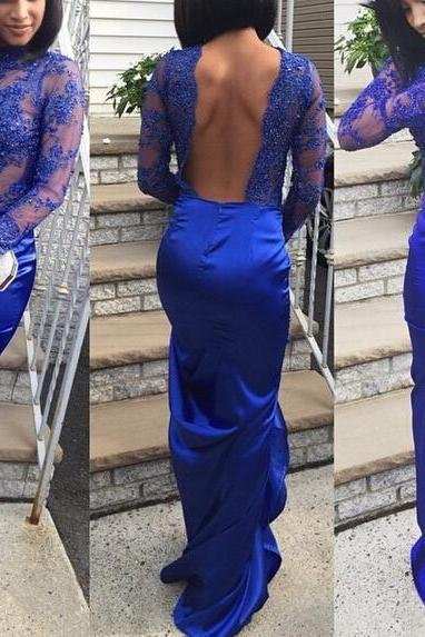 Royal Blue Evening Dress, Lace Evening Dress, Mermaid Evening Dress, Cheap Formal Dress, Backless Evening Dress, Satin Evening Dress, Long Sleeve Elegant Formal Dress