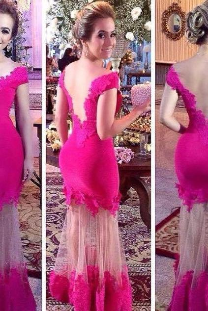 Hot Pink Sexy Evening Dress, Cap Sleeve Lace Evening Dress, Backless Mermaid Cheap Formal Dress, Long Elegant Fashion Evening Dress, 2016 New Arrival Formal Dress, Evening Dress Formal