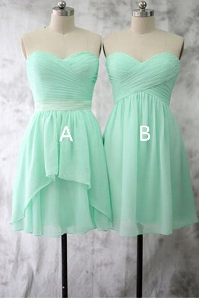 Mismatched Chiffon Mint Green Bridesmaid Dresses, Cheap Junior Short Bridesmaid Dresses, Cute Custom Fitted Ever Pretty Bridesmaid Dresses, 2016 Wedding Party Dresses For Women