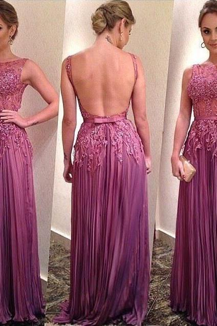Off Shoulder Lace Applique Purple Prom Dress, Pleated Long Backless Sexy Prom Dress, See Through Beaded Rhinestones Prom Dress, Prom Gowns For Women, 2016 Prom Dresses Formal