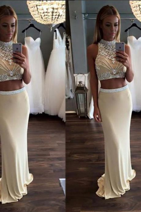 Champagne Two Piece Prom Dresses, Mermaid Beaded Lace Prom Dresses, Rhinestone Chiffon High Neck Prom Dresses, Elegant Sexy Affordable Prom Dresses, Prom Gowns 2016