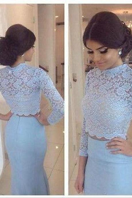 Long Sleeve Lace Blue Prom Dresses, Two Piece Prom Dresses, Mermaid Elegant Cheap Prom Dresses, Long High Neck Prom Dresses, Beading Gorgeous Prom Gowns