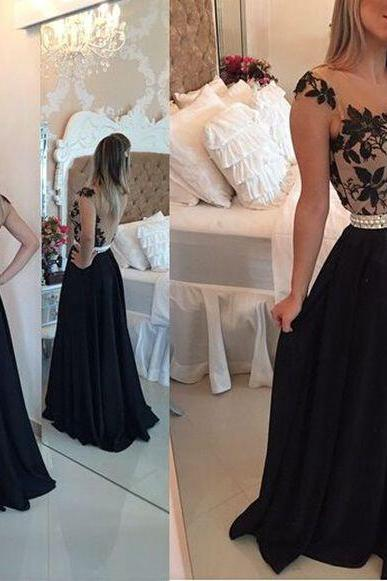 Lace Applique Black Prom Dress, Cap Sleeve Chiffon Prom Dress, A Line Elegant Long Prom Dress, Cheap Custom Prom Dress, Prom Dresses 2016, Women Sexy Sheer Back Prom Gowns