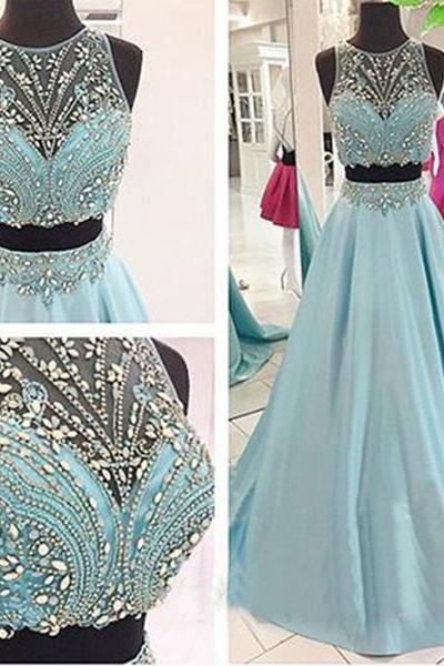 Two Piece Prom Dresses 2016 For Women, Rhinestones Gorgeous Long Blue Prom Dresses, A Line Satin Sexy Prom Dresses, Sheer Back Floor Length Prom Gowns 2016