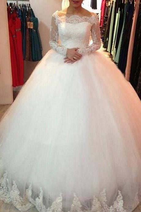 Boat Neck Lace Sleeves Wedding Dress, Tulle Ivory Applique Puffy Wedding Dress, Elegant Custom Make Wedding Dress, Long Sleeve Cheap Bridal Gowns