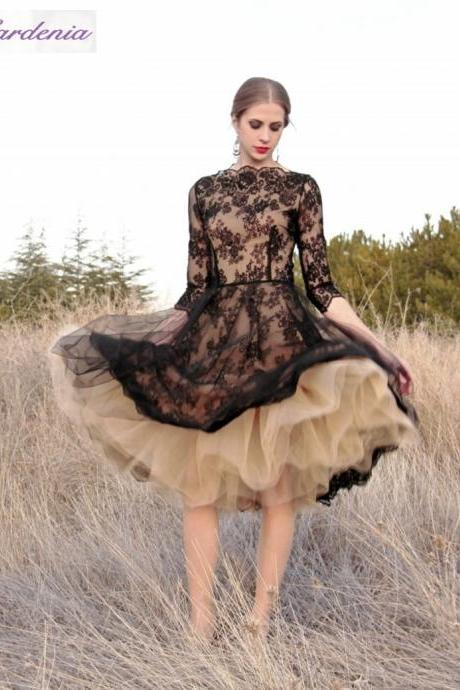 Black Lace Short Prom Dress, Saudi Arabic Prom Gowns, Champagne Tulle Prom Dress, Long Sleeve Prom Dress, Elegant Cheap Prom Dress, Prom Dresses For Women 2016, Vestido De Festa