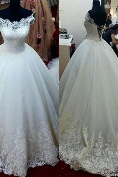 Cap Sleeves Lace Applique Wedding Dress, Ivory Puffy Tulle Cheap Wedding Ball Gown, Bridal Dresses 2016 For Wmen