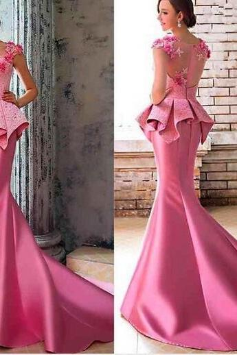 Pink Satin Lace Evening Dress, Chapel Train Long Evening Dress, Cheap Cap Sleeve Elegant Evening Dress, Formal Dresses 2016 Long