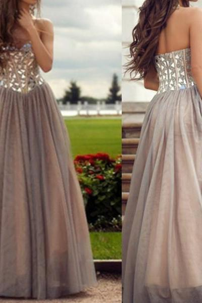 Rhinestones Sweetheart Neckline Prom Dresses, A Line Tulle Prom Dress, Gray Elegant Sparkly Prom Dress, Prom Dresses 2016